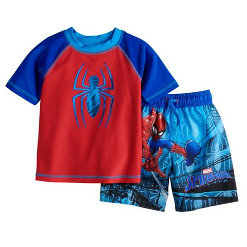 Toddler Boy Marvel Spider-Man Rash Guard Top & Swim Trunks Set