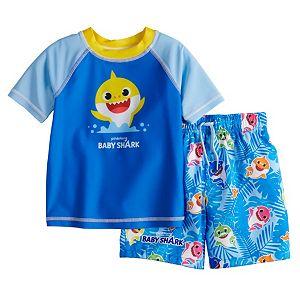 Toddler Boy Baby Shark Rash Guard Top & Swim Trunks Set