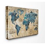 Stupell Home Decor Vintage Abstract World Map Canvas Wall Art