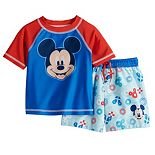Disney's Mickey Mouse Baby Boy Raglan Rash Guard Top & Swim Trunks Set