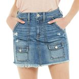 Juniors' SO® Cargo Pocket Denim Skirt