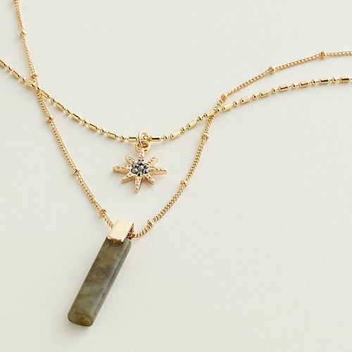 Elizabeth and James Star & Simulated Stone Layered Pendant Necklace