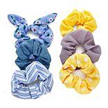 SO® Mixed Print Blue & Yellow Scrunchie Set