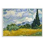 Stupell Home Decor 'Wheat Field with Cypresses Post' Painting Stretched Canvas Wall Art