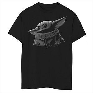 Boys 8-20 Star WarsThe Mandalorian The Child aka Baby Yoda Black & Grey Portrait Graphic Tee
