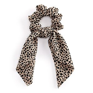 Leopard Print Bow Scrunchie