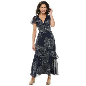 Women's Chaps Floral Ruffle Chiffon Maxi Dress