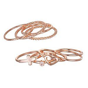 LC Lauren Conrad Stackable Heart Motif Regular & Midi Ring Set