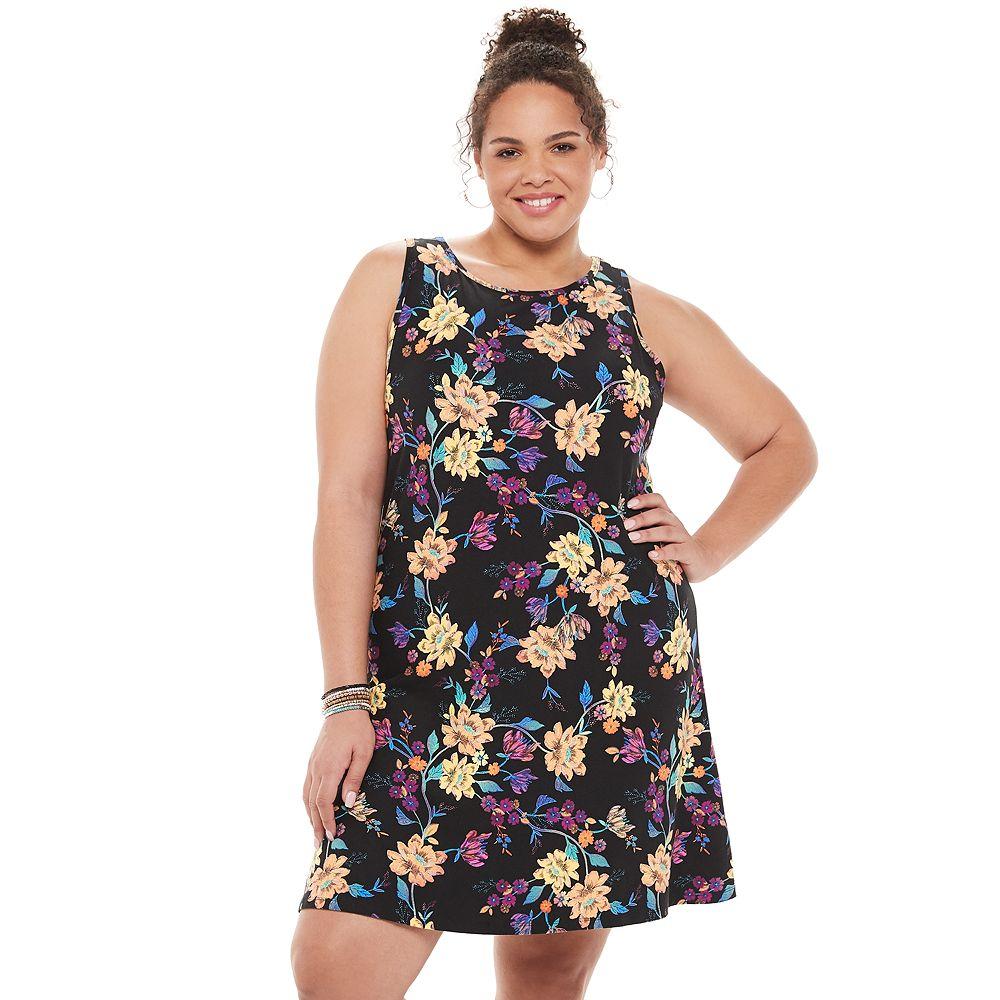 Juniors' Plus Size SO® Keyhole Back Fit & Flare Dress