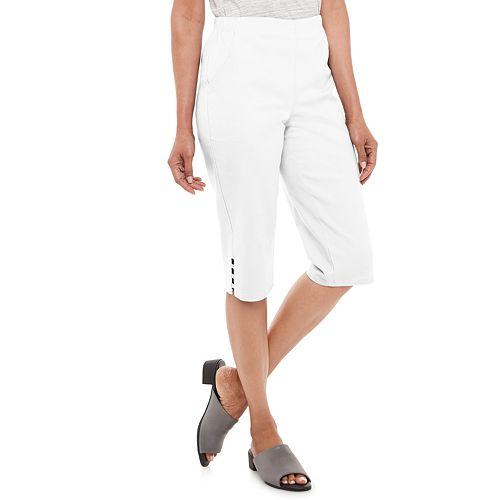 Petite Croft & Barrow® Pull On Lattice-Hem Capri Pants