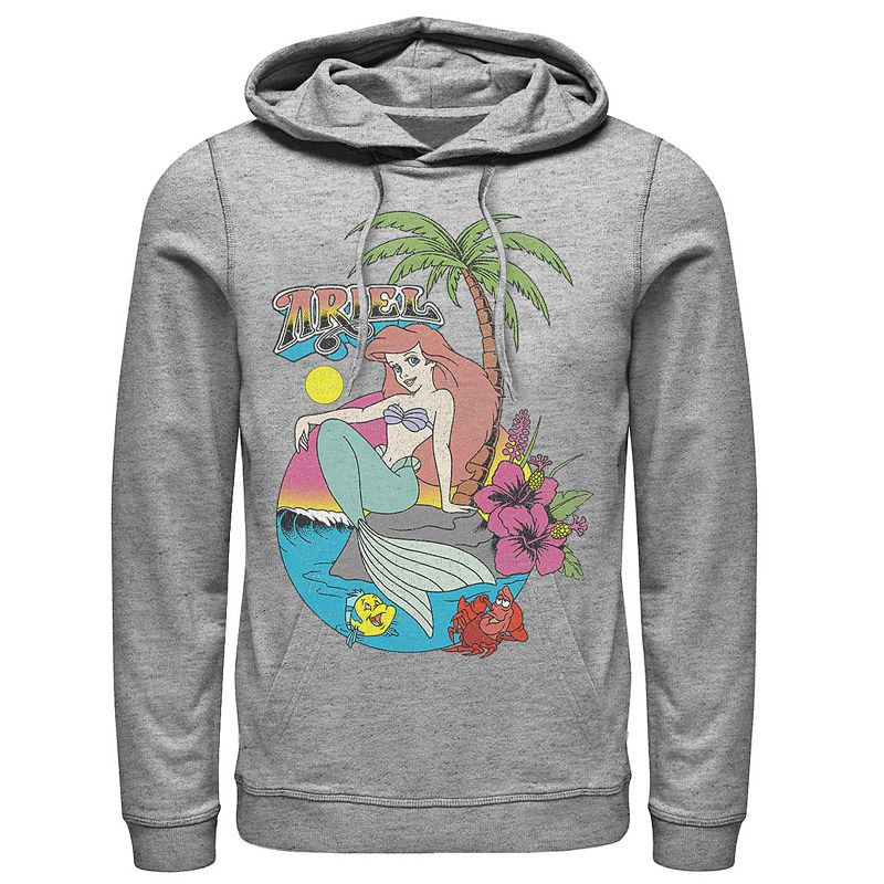 Men's Disney Little Mermaid Distressed Ariel Logo Pullover Hoodie. Size: Small. Grey