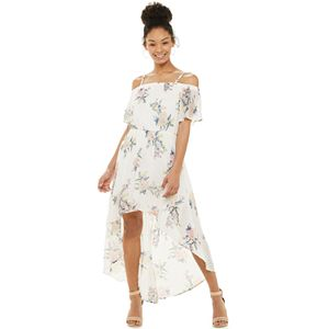Juniors' Lily Rose Off-the-Shoulder High-Low Dress