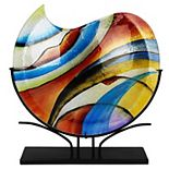 Jasmine Art Glass Curl Vase with Stand