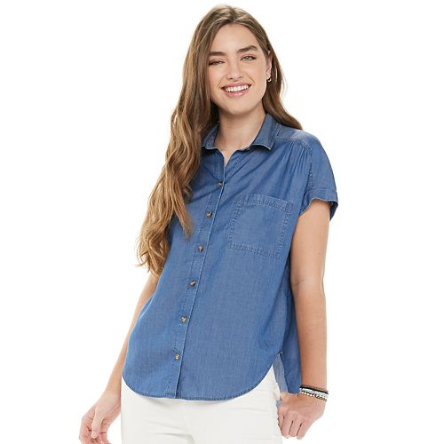 Juniors' So® Short Sleeve Button Down Shirt