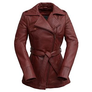 Women's Whet Blu Leather Trench Coat