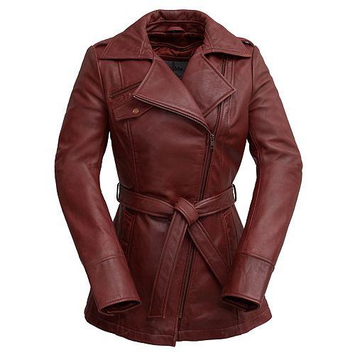 Women's Whet Blu Leather Trench Coat