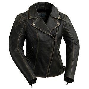 Women's Whet Blu Stephanie Distressed Leather Moto Jacket