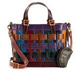 AmeriLeather Dorgan Leather Rainbow Basket Satchel