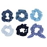 SO® Blue Print & Solid Scrunchie Set