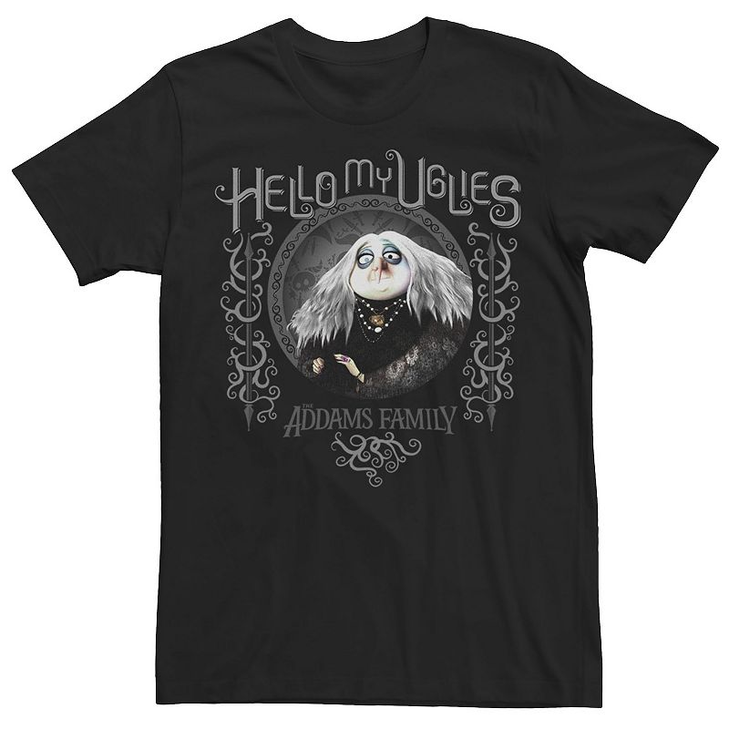 Men's The Addams Family Grandmama Hello My Uglies Graphic Tee. Size: Small. Black