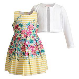 Toddler Girl Youngland Floral Poplin Dress & Cardigan Set