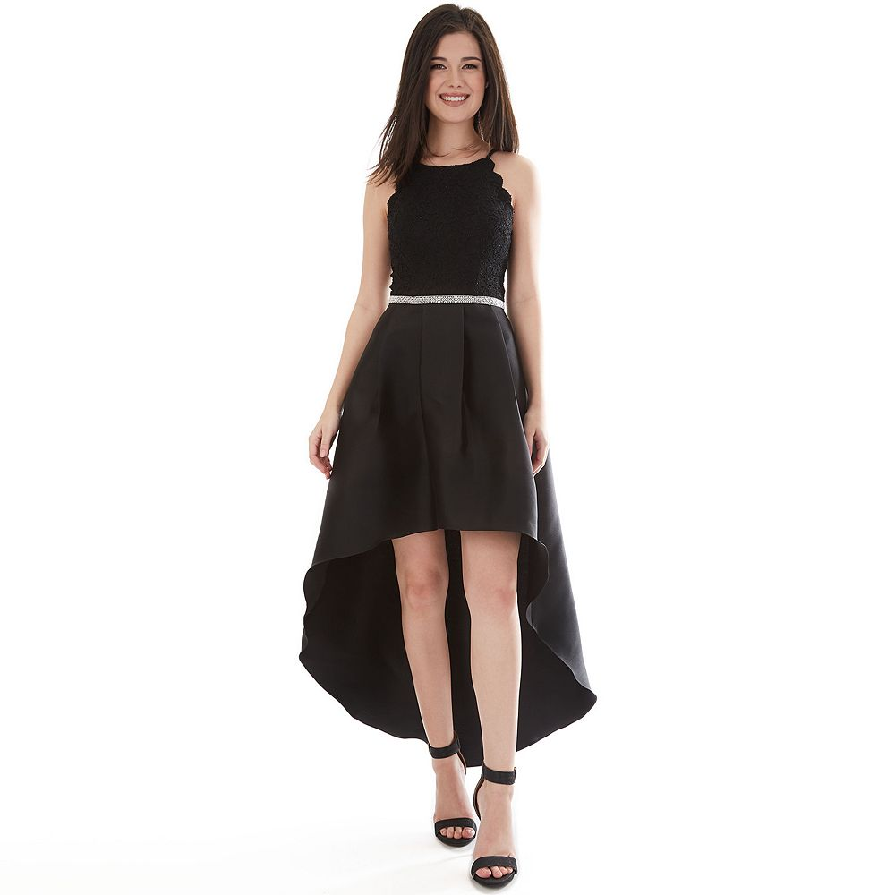 Juniors' IZ Byer Cutaway Scalloped Neck Pleated High-Low Dress