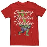 Men's Marvel Hulk Smashing Winter Wishes Christmas Graphic Tee