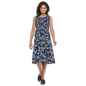 Petite Croft & Barrow® Print Smocked Midi Dress