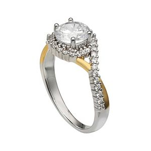 PRIMROSE Two-Tone 18k Gold Over Silver Cubic Zirconia Crossover Band Ring