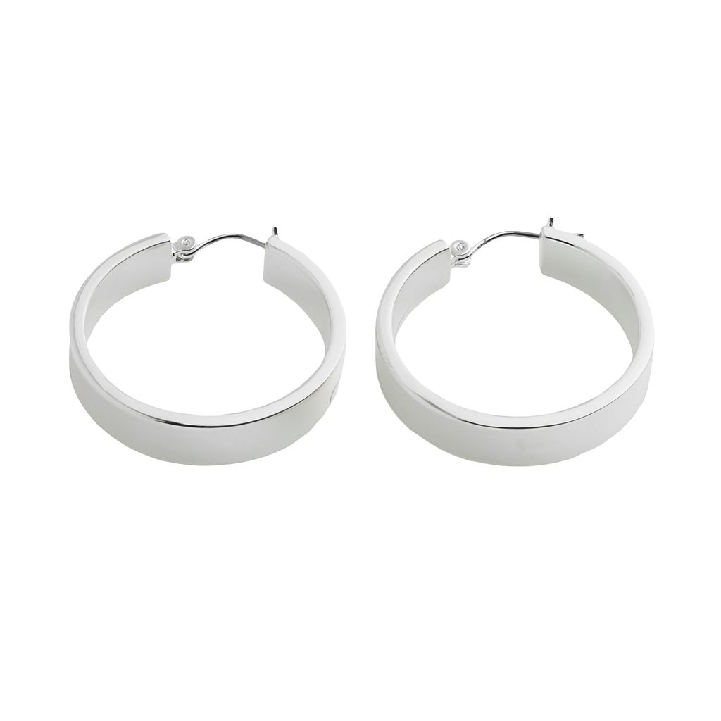 Chaps Small Silver Tone Hoop Earrings