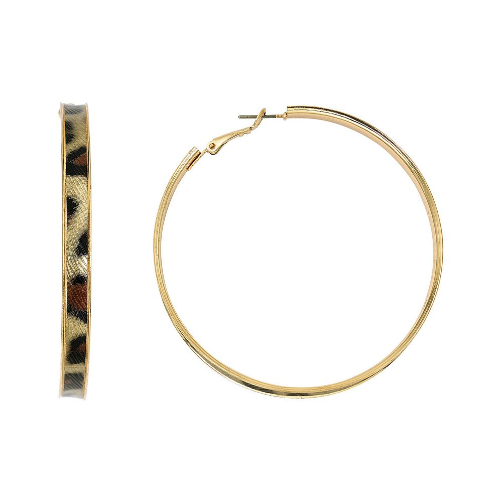 SONOMA Goods for Life® Gold Tone Leopard Print Nickel Free Hoop Earrings