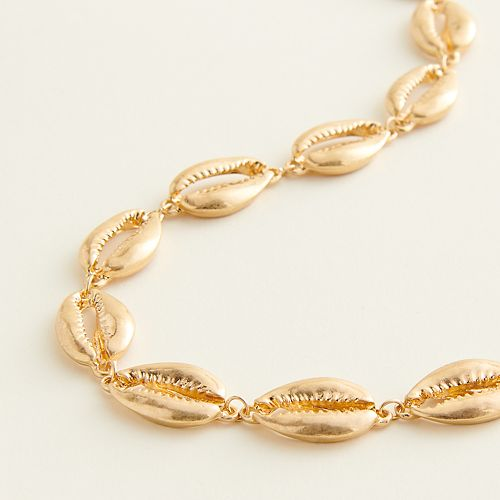 Elizabeth and James Gold Tone Seashell Collar Necklace