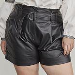 Plus Size Elizabeth and James Faux-Leather Paperbag Shorts
