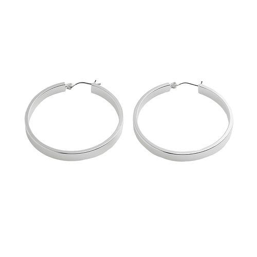 Chaps Large Silver Tone Hoop Earrings