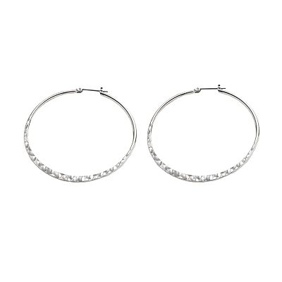 Candie's Silver-Tone Hammered Hoop Earrings
