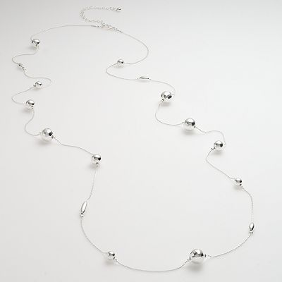 Candie's Silver-Tone Long Beaded Illusion Necklace