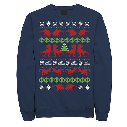 Men's Jurassic World Dino Ugly Holiday Sweater Fleece Graphic Pullover