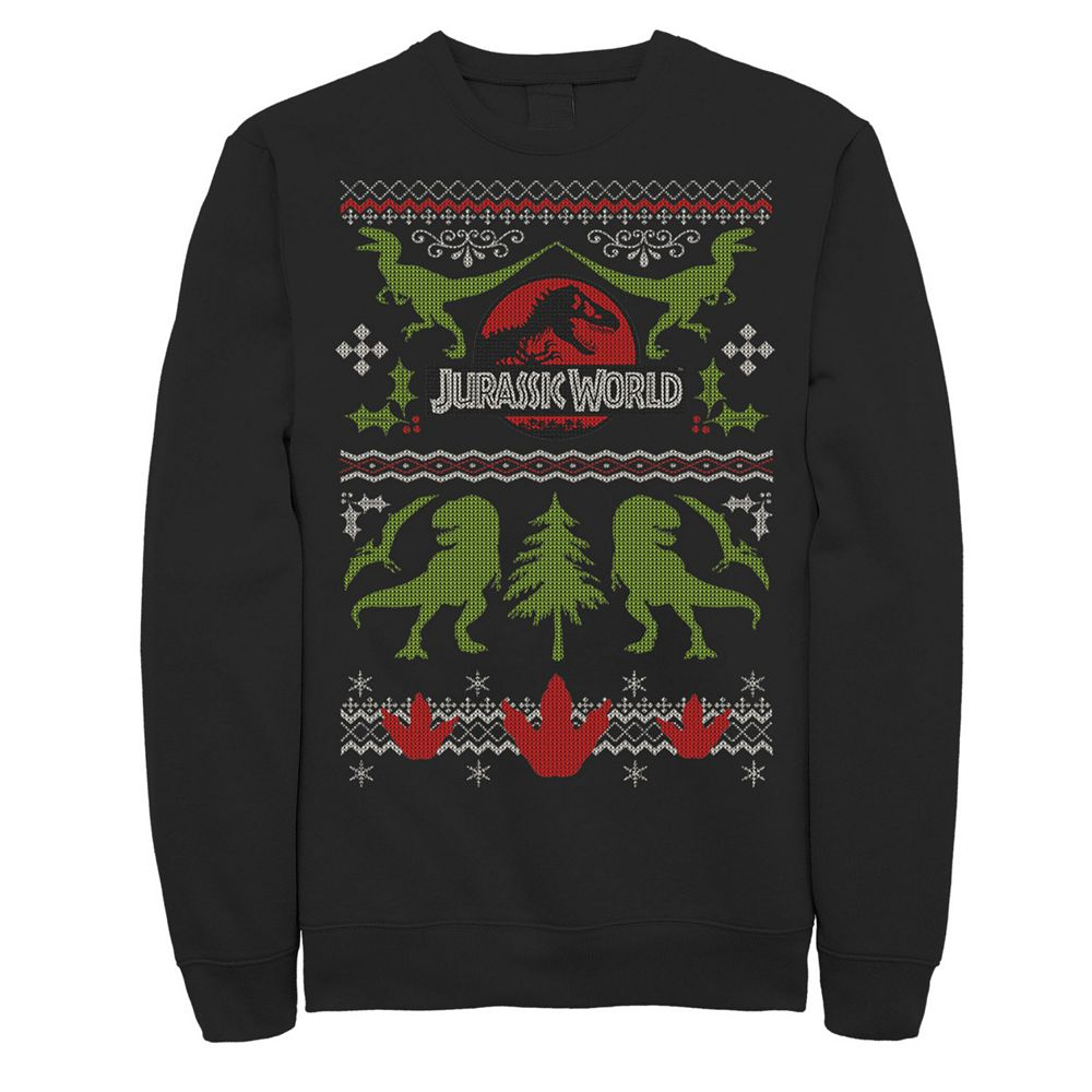 Men's Jurassic World Dinosaur Xmas Ugly Sweater Fleece Pullover