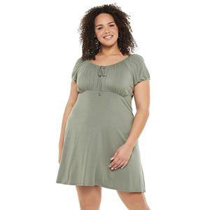 Juniors' Plus Size SO® Elastic Scoop Neck Dress
