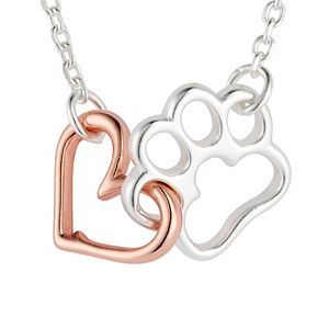 "LovethisLife® ""Pet"" Two-Tone Sterling Silver Open Heart & Paw Print Necklace"