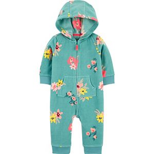 Baby Girl Carter's Floral Fleece Jumpsuit