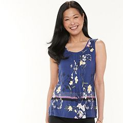 Yours Clothing Women/'s Plus Size Navy Tile Print Sleeveless Top