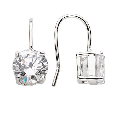 Silver-Tone Round Cubic Zirconia Drop Earrings