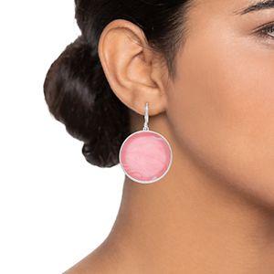 Nine West Silver-Tone & Pink Round Drop Earrings