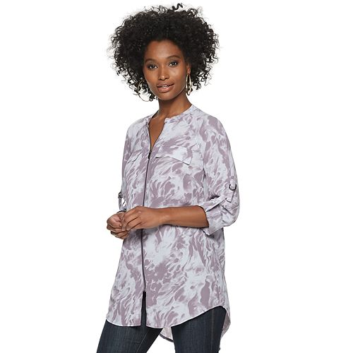 Women's Rock & Republic® Roll-Tab Sleeve Zip-Front Tunic