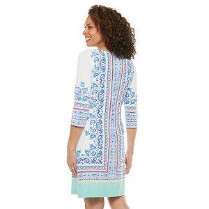Petite Chaps Multi-Print Shift Dress