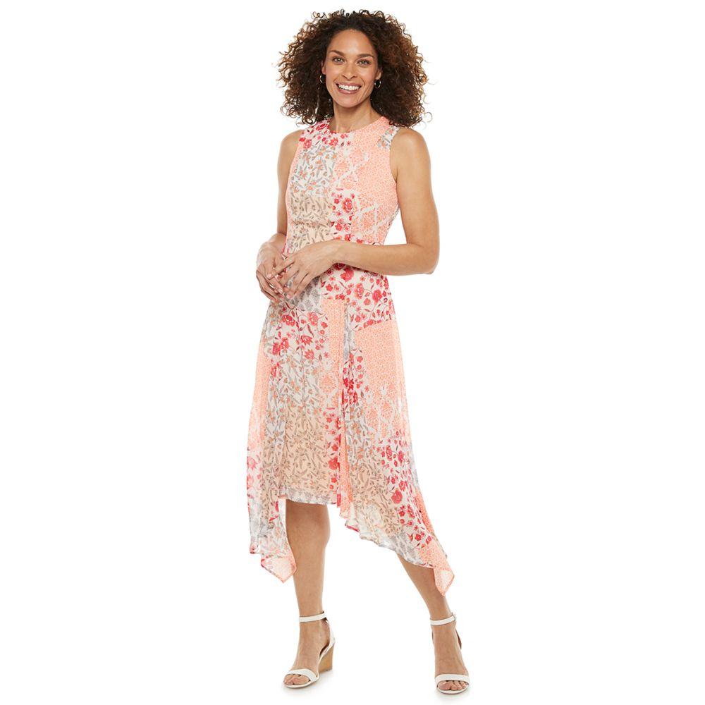 Petite Chaps Print Handkerchief-Hem Midi Dress