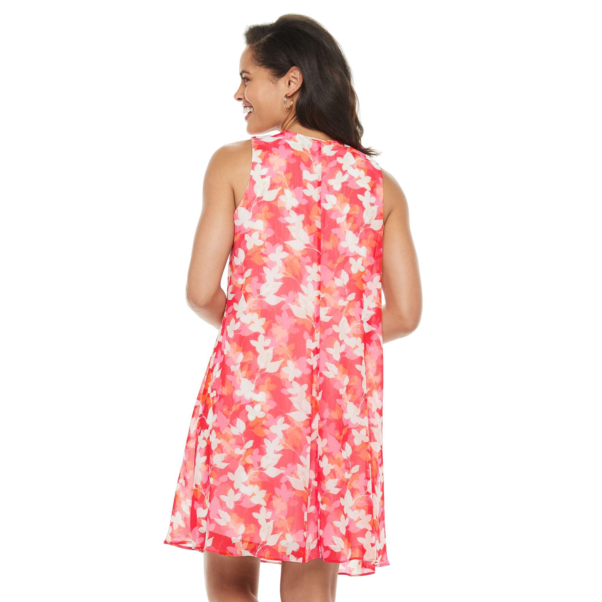 Petite Chaps Floral Trapeze Dress