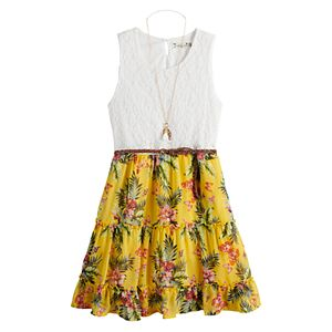 Girls 7-20 Knit Works Tiered Chiffon Skater Dress with Belt & Necklace in Regular & Plus Size