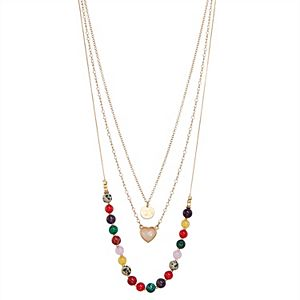Sonoma Goods For Life® Colored Beads and Heart Pendant Layered Necklace